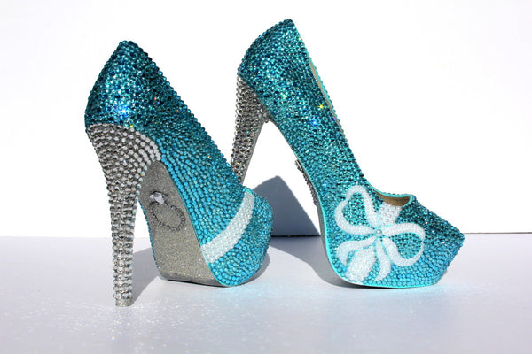 Shoes wicked addiction tiffany blue wedding shoes with pearl bows and crystal heels junglespirit Images