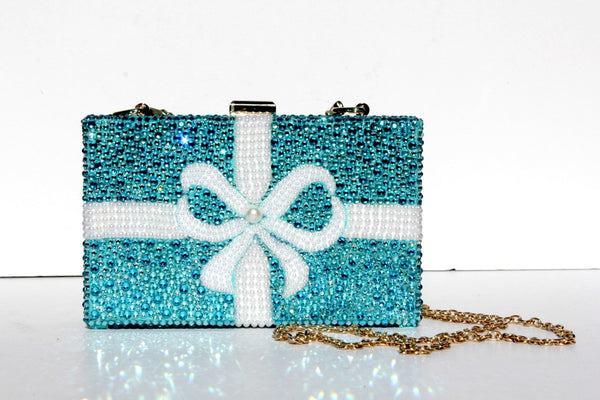 Swarovski Crystal Clutch in Tiffany Aqua Blue - Wicked Addiction