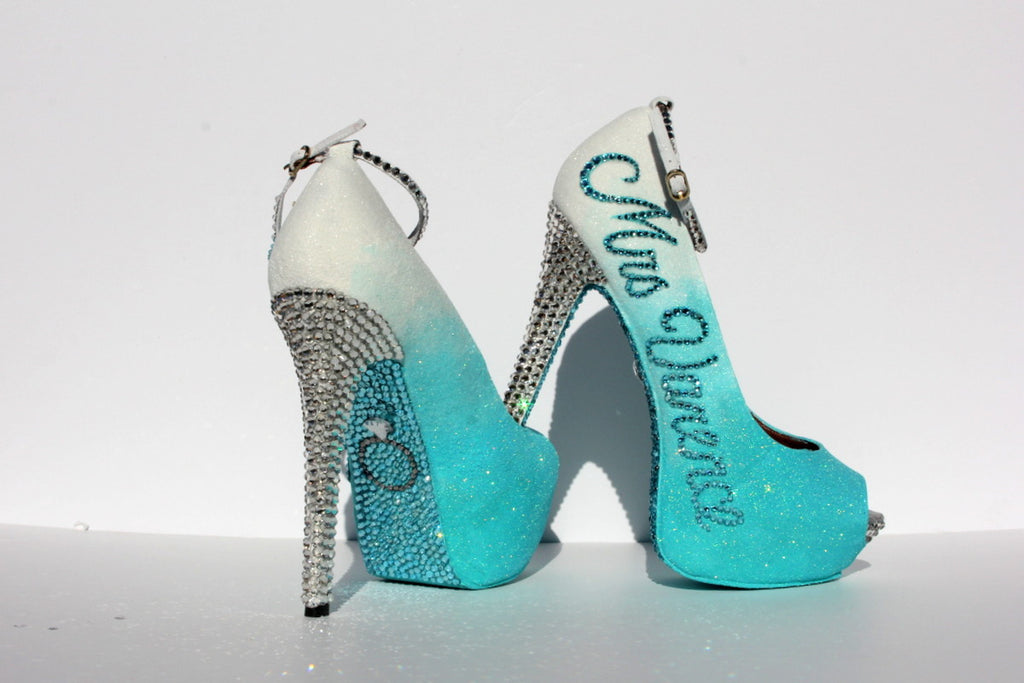 Personalized Wedding Shoe in aqua with crystals - Wicked Addiction