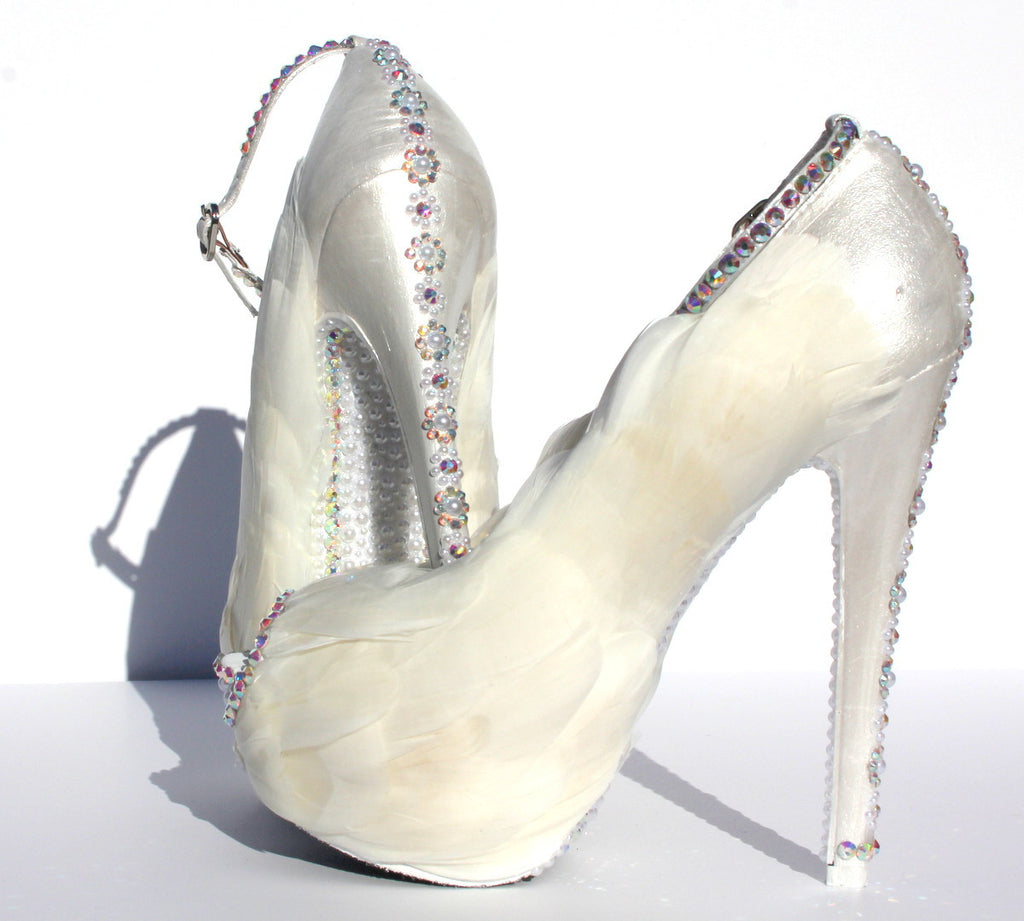 "Feather ""White Swan"" Peep Toe Heels - Wicked Addiction"