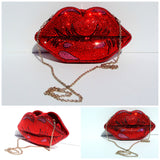 Pop Art Red Lips Crystal Clutch - Wicked Addiction