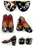 Black Music Note Ballet Flats: Swarovski Crystals