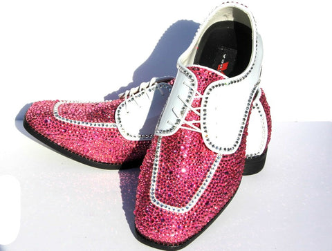 Men's Wing Tip Formal Shoe with Pink Swarovski Crystal
