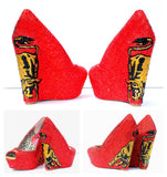 Red Crystal Wedges with Bull