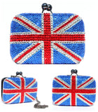 Swarovski Crystal Union Jack Clutch Purse with Chain