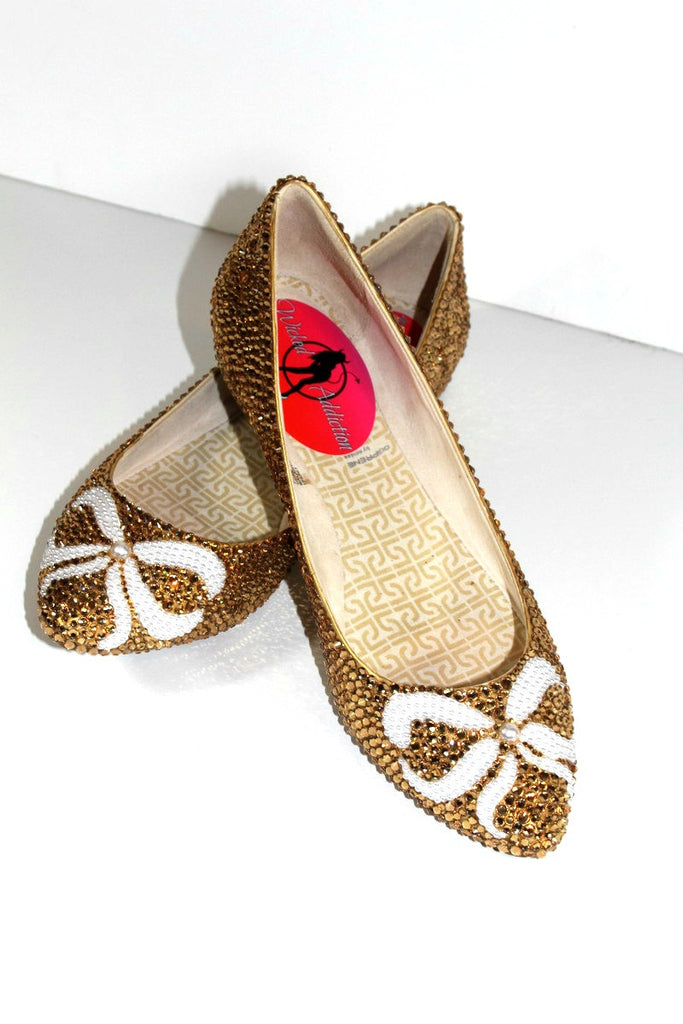 Gold Crystal Ballet Flats with Pearl Bows - Wicked Addiction