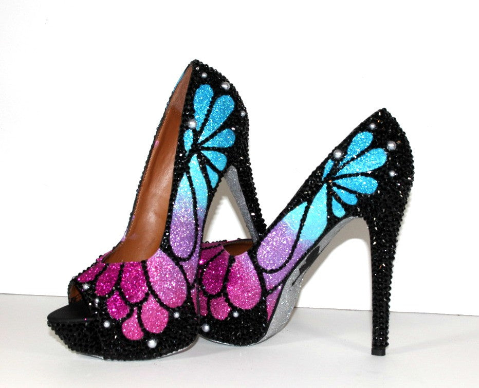 Ombre Crystal Butterfly Peep Toe Heels - Wicked Addiction