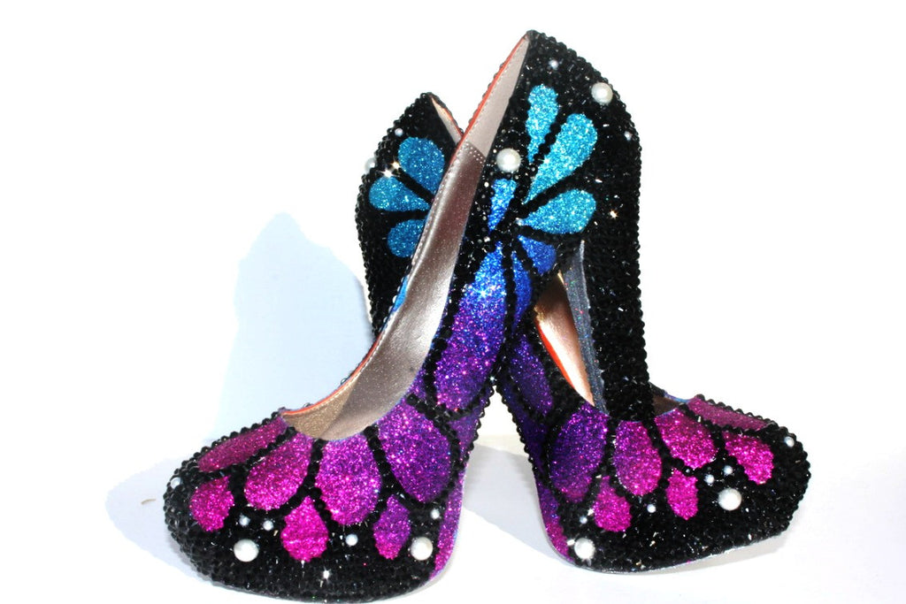 Swarovski Crystal Butterfly Heels - Wicked Addiction