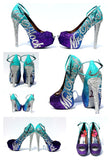 Personalized Aqua Purple Ombre Glitter Peep Toe Heels - Wicked Addiction