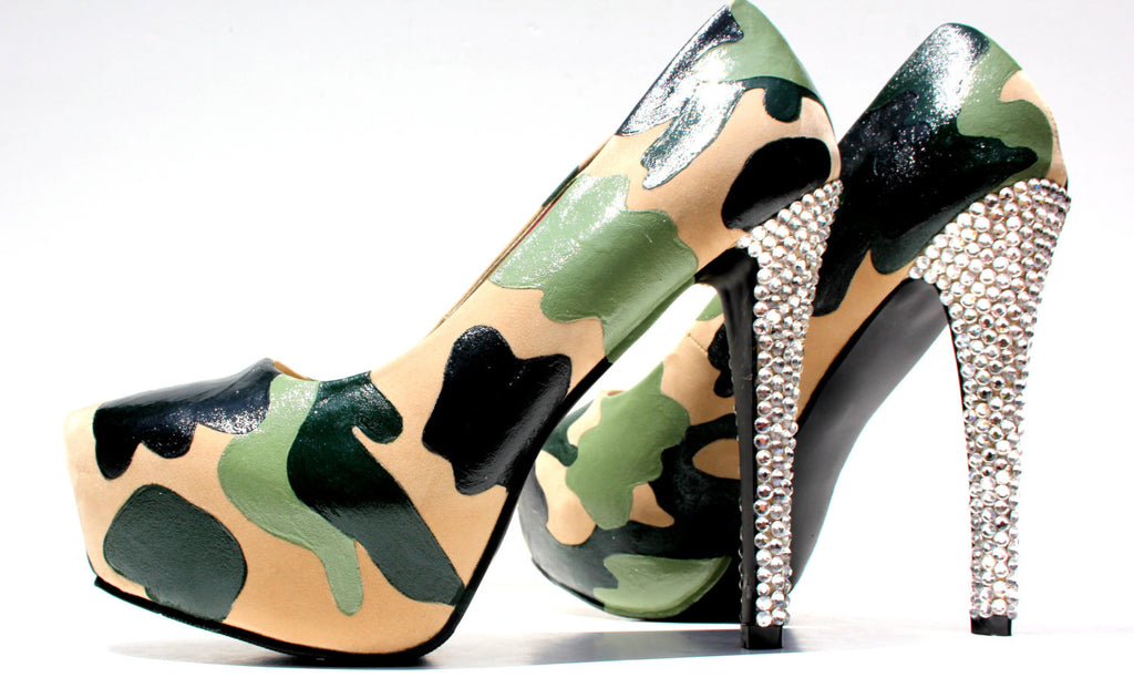 Custom Camo Heels with Swarovski Crystals - Wicked Addiction