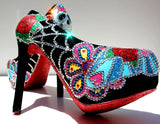 Day of the Dead Sugar Skull Heels - Wicked Addiction