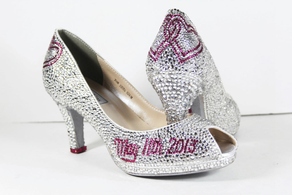 Crystal Bridal Heels with Linking Hearts - Wicked Addiction