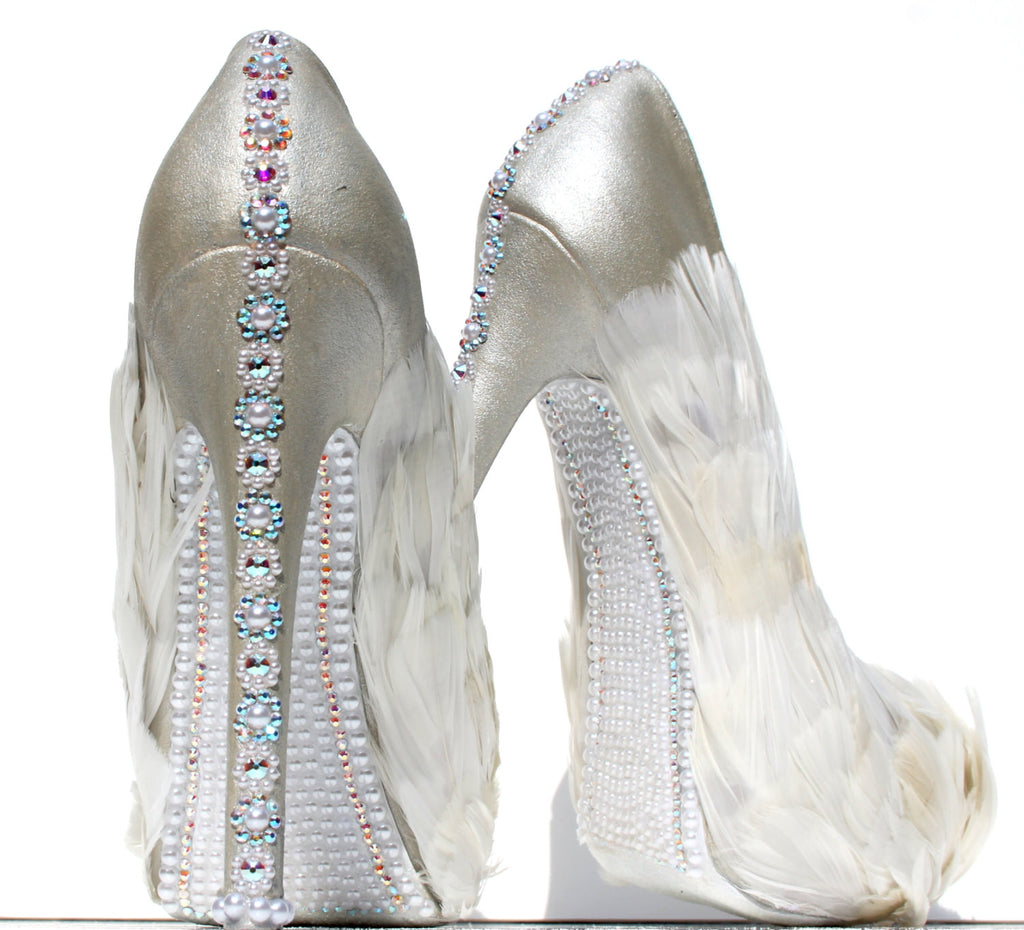 White Swan Feathered Crystal Bridal Heels