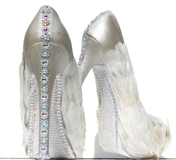 White Swan Feathered Crystal Bridal Heels - Wicked Addiction