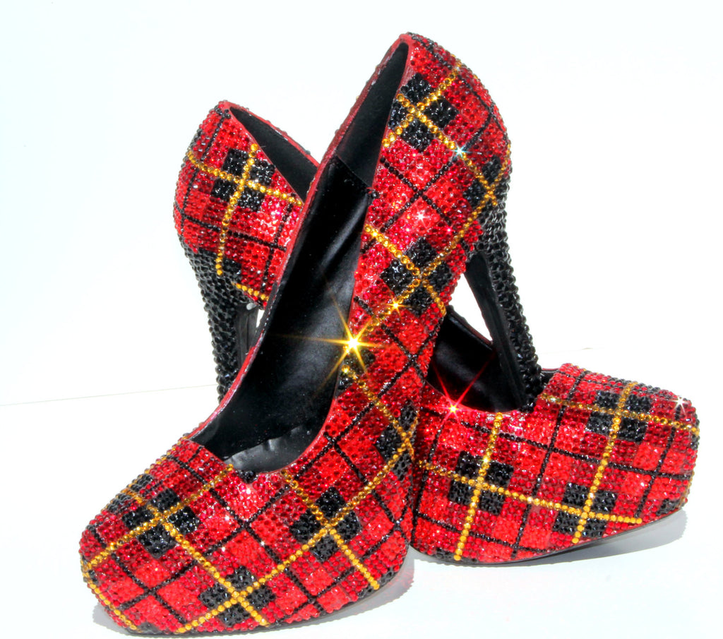 Swarovski Crystal Buffalo Plaid Heel - Wicked Addiction