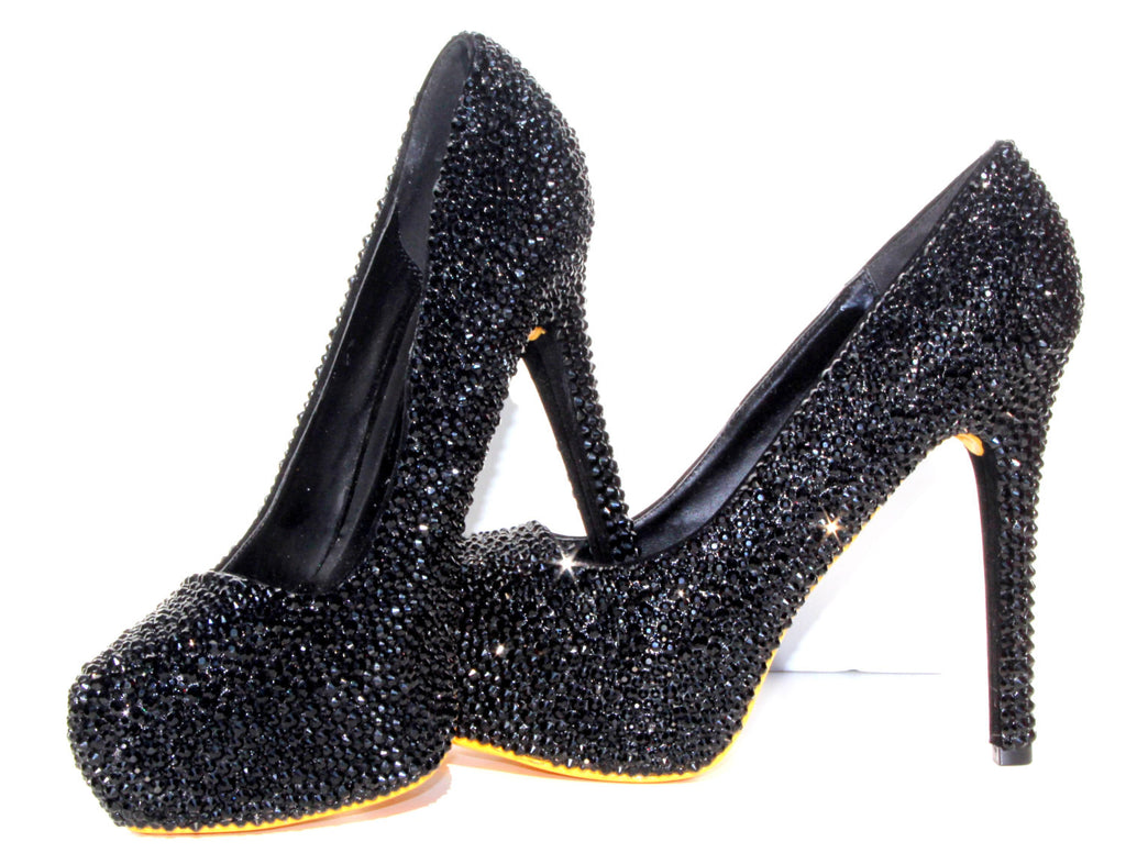 Black Crystal Heels with Sole Color of Choice - Wicked Addiction