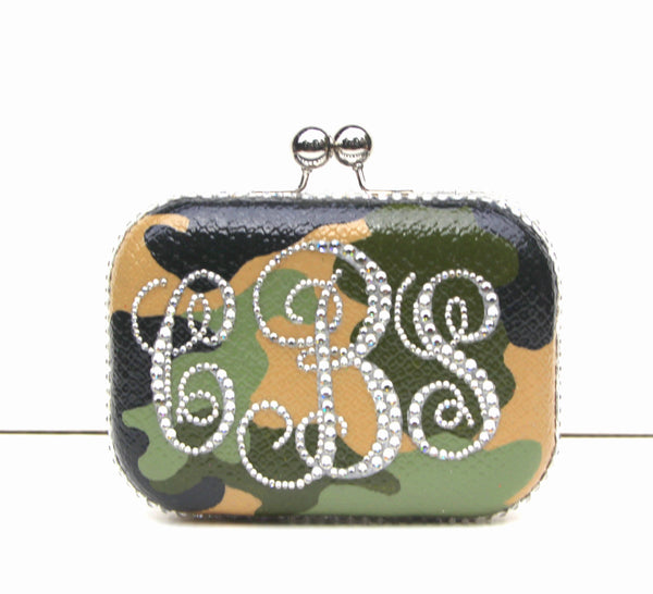 Camouflage Monogram Clutch with Swarovski Crystals - Wicked Addiction