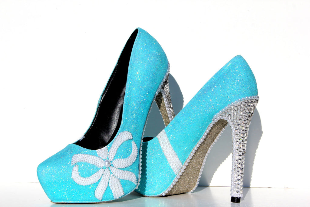 Tiffany Blue Glitter Heels with Pearls - Wicked Addiction