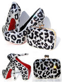 Crystal Leopard Heels with Matching Clutch - Wicked Addiction
