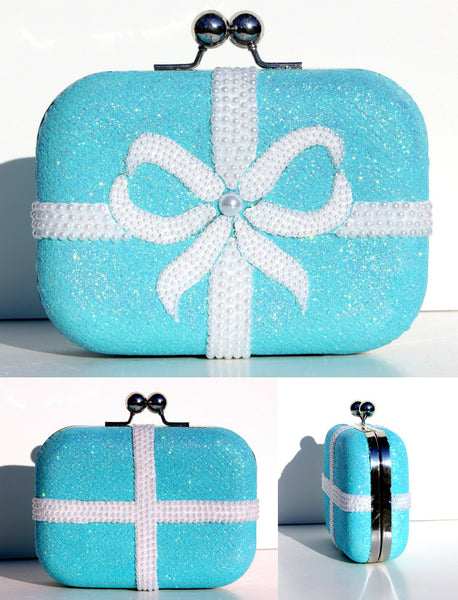 Tiffany Blue Clutch with Swarovski Crystal & Pearls - Wicked Addiction
