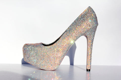 AB Swarovski Crystal Heels with Custom Sole Color