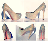 AB Swarovski Crystal Heels with Custom Sole Color - Wicked Addiction