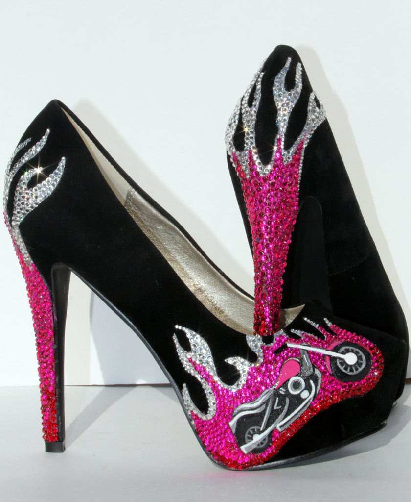 Pink & Black Crystal Biker Chic Heels - Wicked Addiction