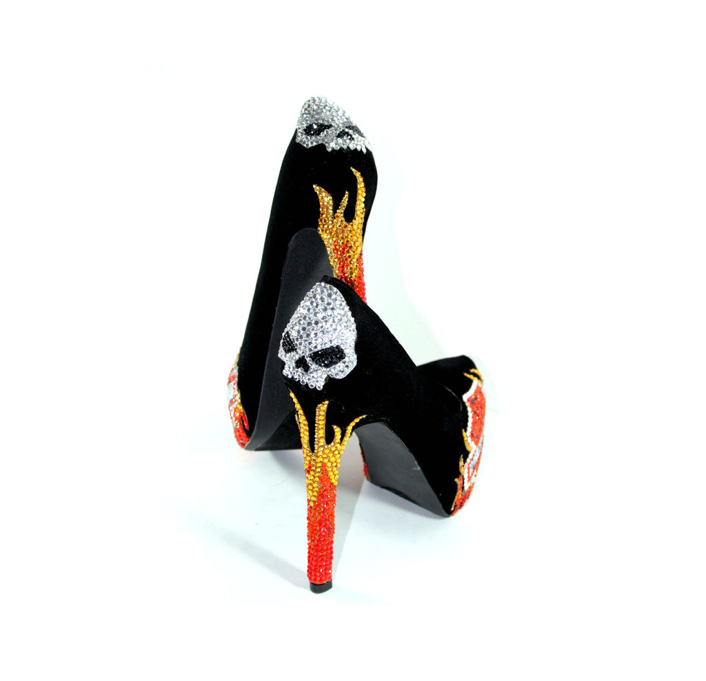 Biker Chic Heels with Crystal Skulls & Flames - Wicked Addiction