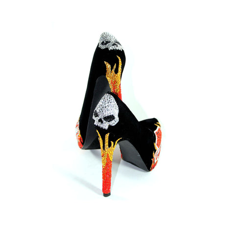 Biker Chic Heels with Crystal Skulls & Flames
