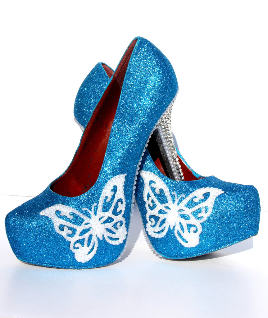 Turquoise Butterfly Glitter Heels with Crystals & Pearls