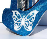 Turquoise Butterfly Glitter Heels with Crystals & Pearls - Wicked Addiction