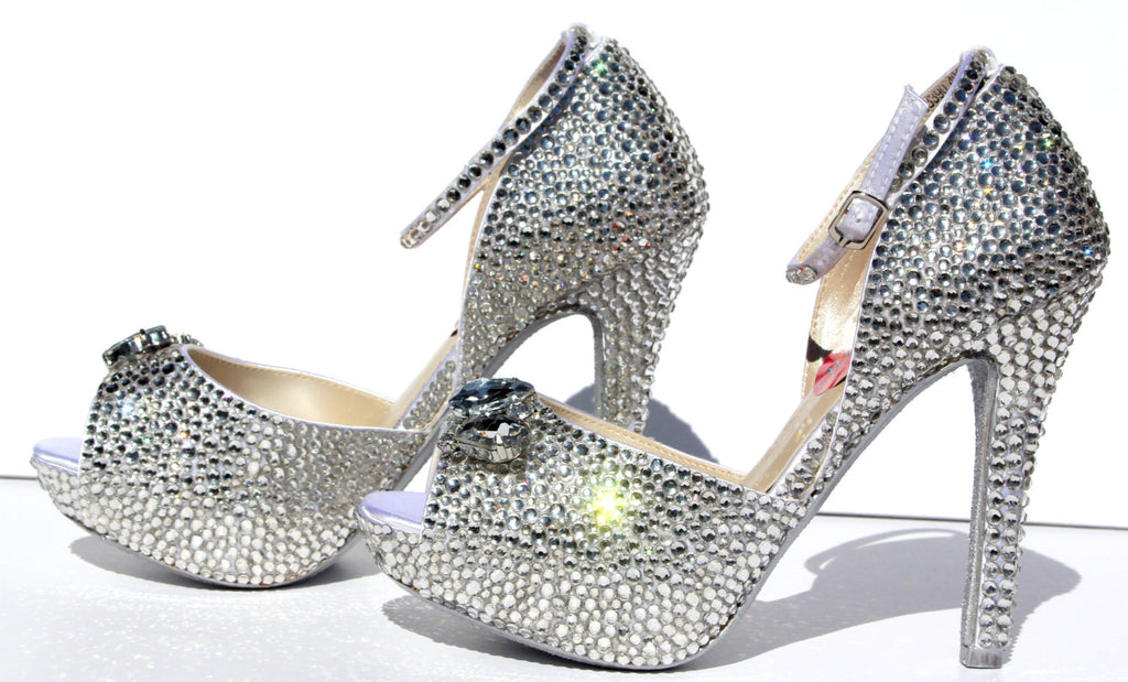 Swarovski Crystal Peep Toe Platform Heel - Wicked Addiction