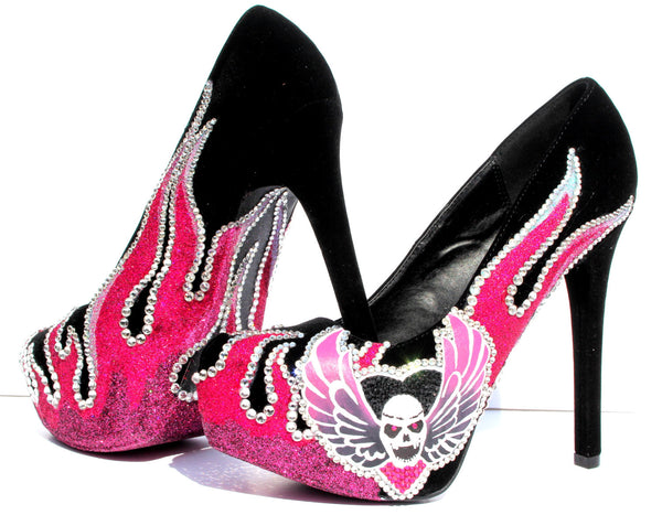 Crystal Skull & Pink Flame Heels - Wicked Addiction