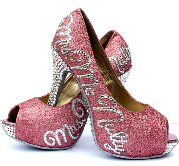 Personalized Bridal Heels with Swarovski Crystals & Glitter - Wicked Addiction