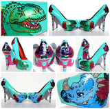 Crystal & Pearl Dinosaur Hand-Painted Heels - Wicked Addiction