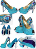 Crystal Peacock Feather Peep Toe Heel - Wicked Addiction