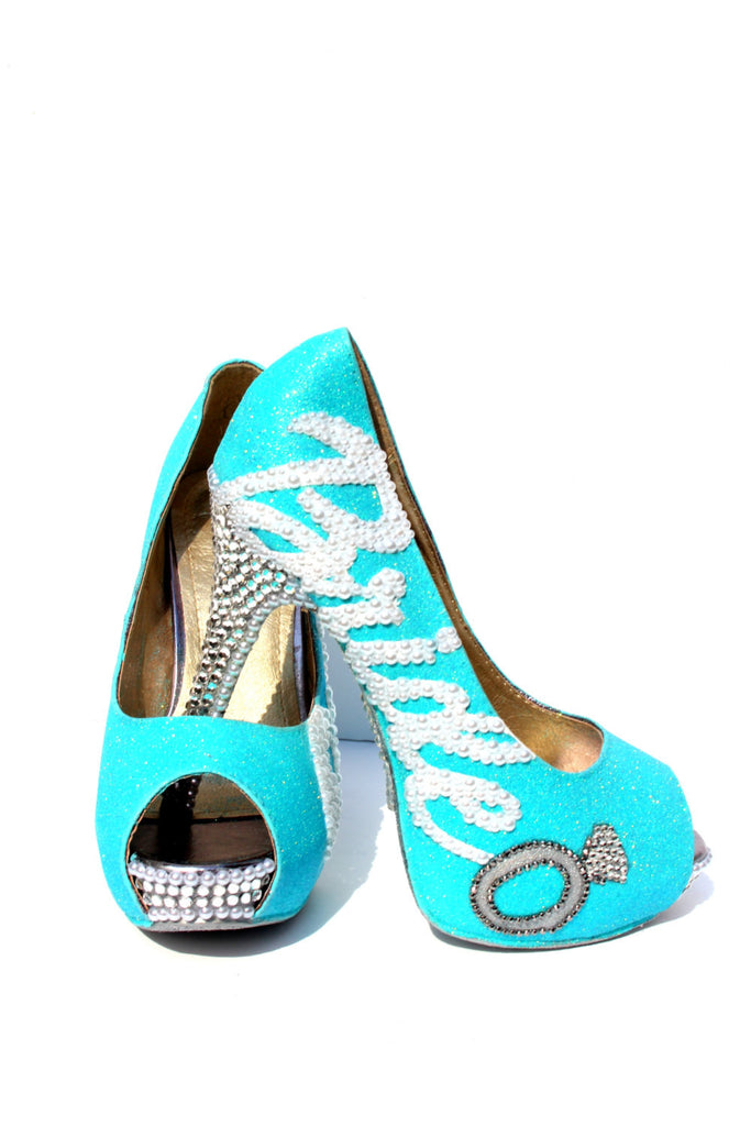Tiffany Blue Crystal Glitter Bridal Heel - Wicked Addiction