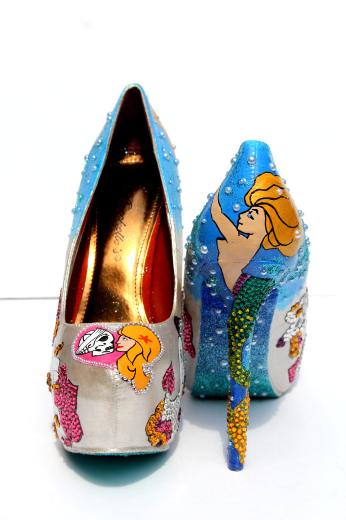 Rockabilly Mermaid Tat Heels in Crystal