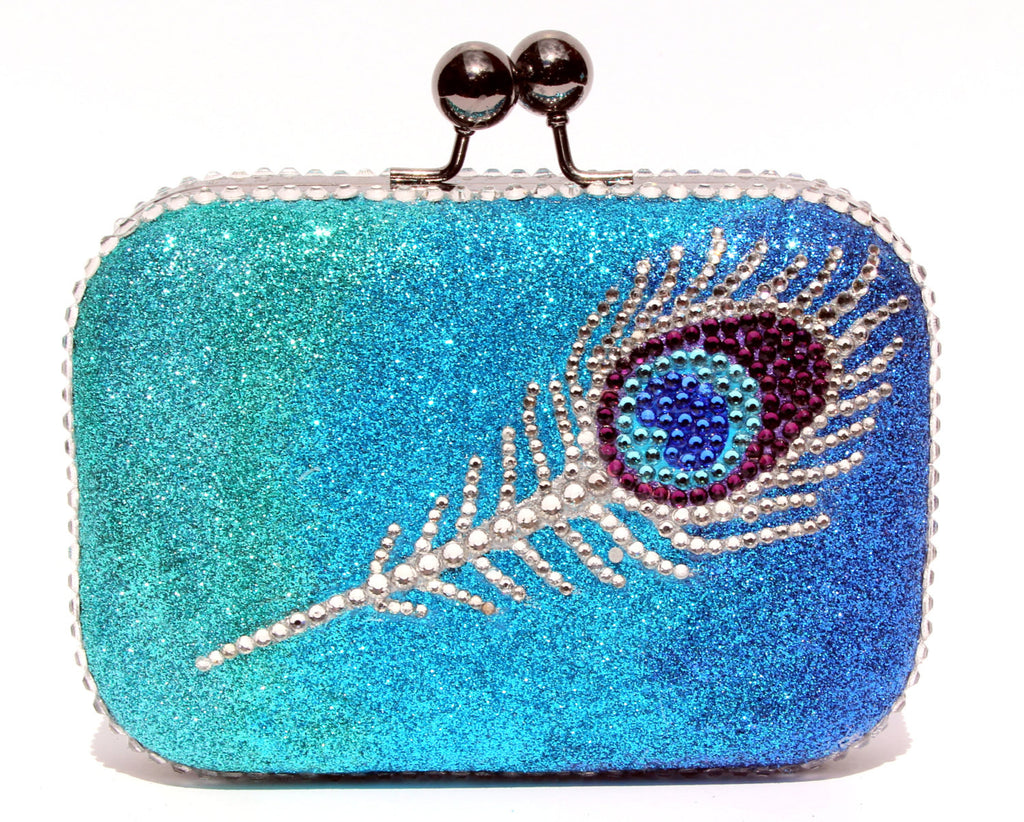 Peacock Feather Swarovski Crystal Clutch