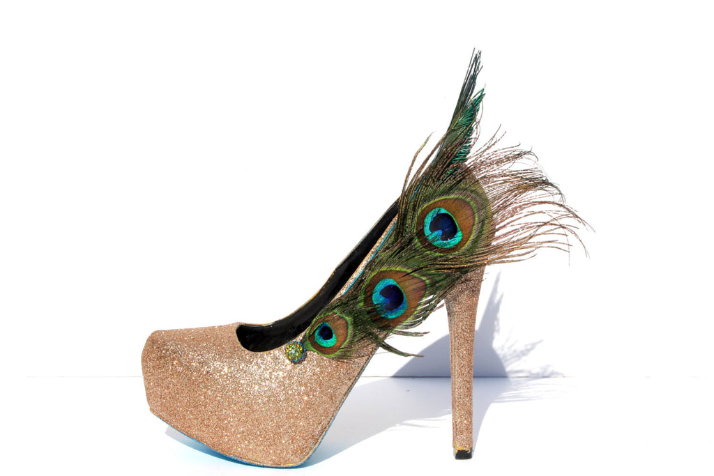 Peacock Feather Glitter Pumps - Wicked Addiction