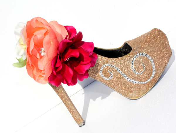Complete Custom Floral Bridal Heel - Wicked Addiction