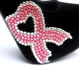 Breast Cancer Heart Ribbon Black Heels - Wicked Addiction