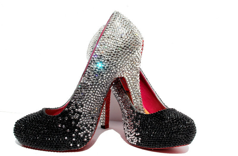 Custom Ombre Black/Sliver Crystal Heels - Wicked Addiction