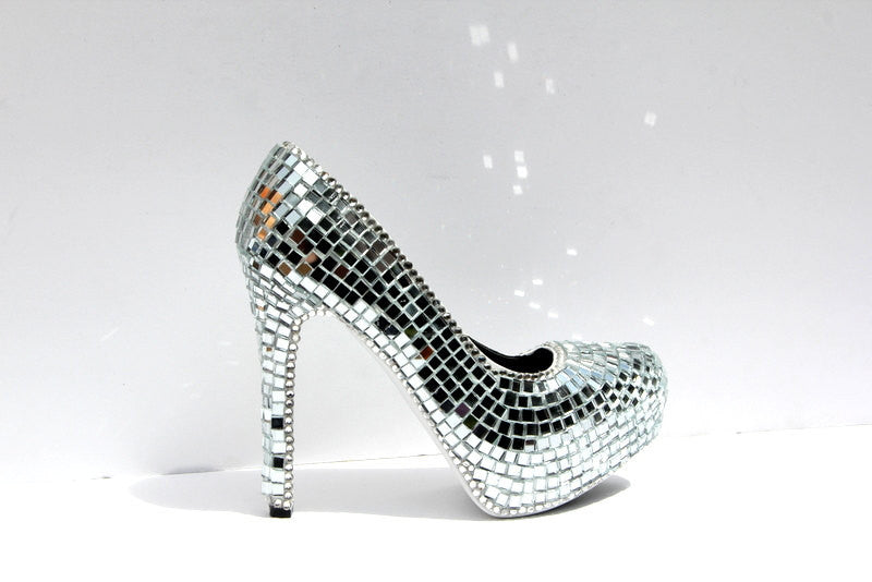 Shiny Disco Ball Mirror Ball Heels - Wicked Addiction
