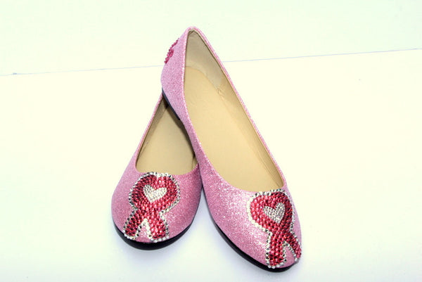 Breast Cancer Heart Ribbon-Custom Crystal Flats - Wicked Addiction