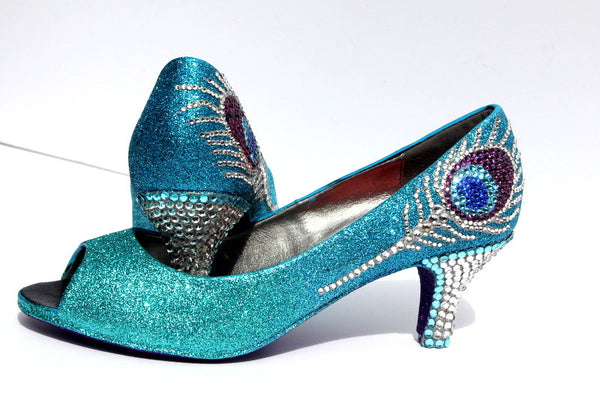 Crystal Peacock Feather Heels (3 Inch) - Wicked Addiction