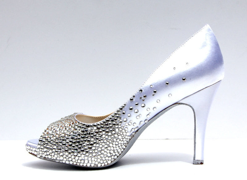 Swarovski Crystal Peep Toe Wedding Heel
