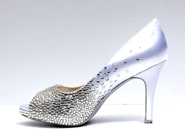 Swarovski Crystal Peep Toe Wedding Heel - Wicked Addiction