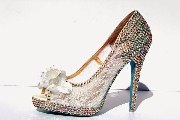 Lace & Swarovski AB Crystal Bridal Heel - Wicked Addiction