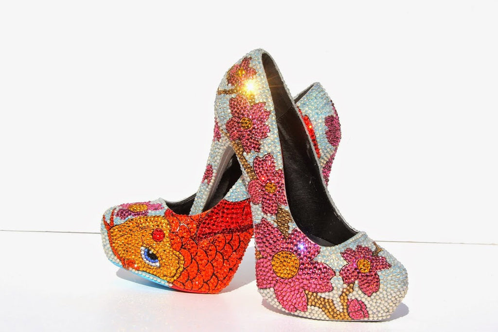 Koi & Cherry Blossom Crystal Heel - Wicked Addiction